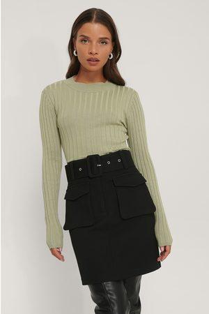 NA-KD Dame Strikkegensere - Ribbed High Neck Knitted Sweater