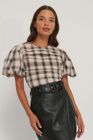 NA-KD Dame Bluser - Puff Sleeve Check Blouse