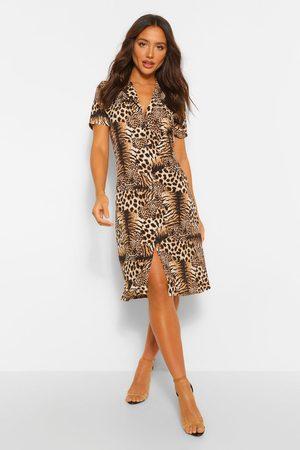 Boohoo Tiger And Mix Shirt Style Midi Dress