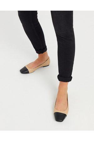 ASOS Locket square toe ballet flats in black and beige-Multi