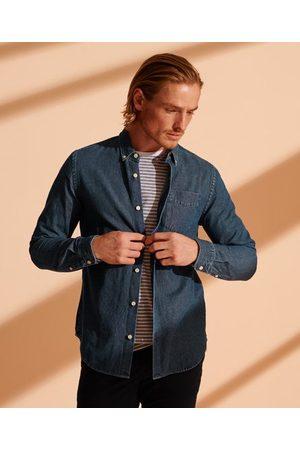Superdry Herre Denim - Klassisk denimskjorte med knapper i kragespissene