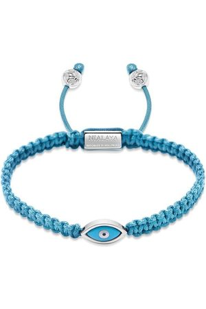 Nialaya Men's Light Blue String Bracelet with Silver Evil Eye