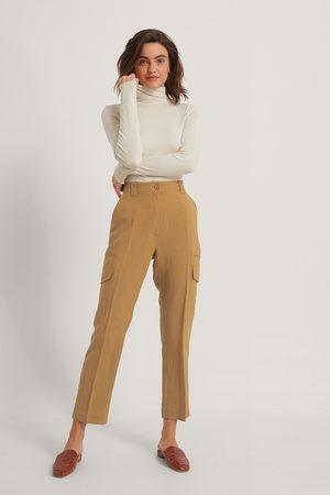 NA-KD Dame Cargobukser - Fluid Linen-Blend Cargo Pants