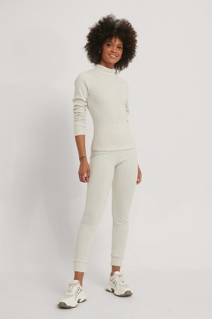NA-KD Dame Loungewear - Soft Ribbed Highwaist Tights