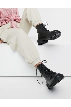 Raid Vinita flat chunky lace up ankle boots in black