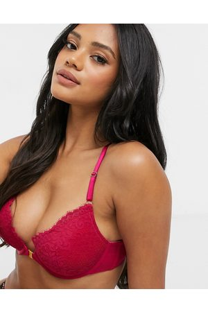 Hunkemöller Rose lace plunge push up bra with lace back detail in pink