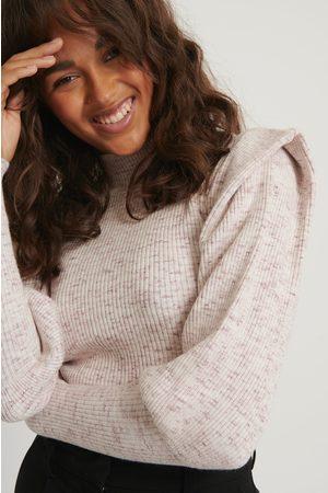 NA-KD Dame Strikkegensere - Sharp Shoulder Melange Knitted Sweater