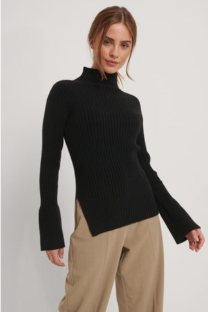 NA-KD Dame Pologensere - Side Slit Ribbed Knitted Sweater