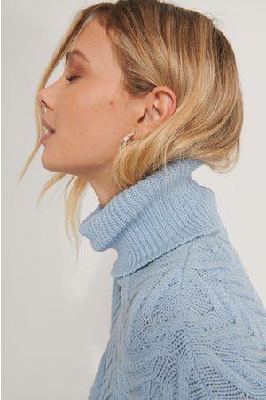 NA-KD Dame Pologensere - High Neck Pattern Knit Sweater