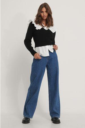NA-KD Dame Strikkegensere - Puff Sleeve V-neck Knitted Sweater
