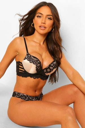 Boohoo Satin + Lace Strapping Wing Super Push Up Bra