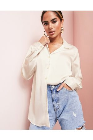 ASOS ASOS LUXE relaxed satin long sleeve shirt in oyster-Brown