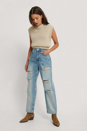 NA-KD Destroyed High Waist Cropped Jeans