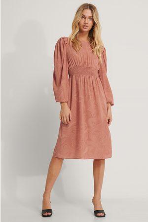 NA-KD Smock Waist Printed Midi Dress