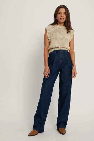 NA-KD Front Pleat Wide Leg Denim