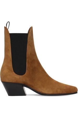 Khaite 50mm Saratoga Suede Ankle Boots