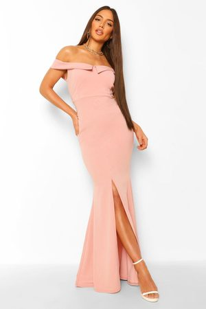 Boohoo Bardot Split Front Maxi Dress