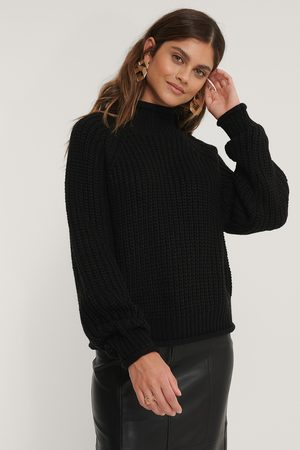 NA-KD Dame Pologensere - Raglan Sleeve High Neck Knitted Sweater