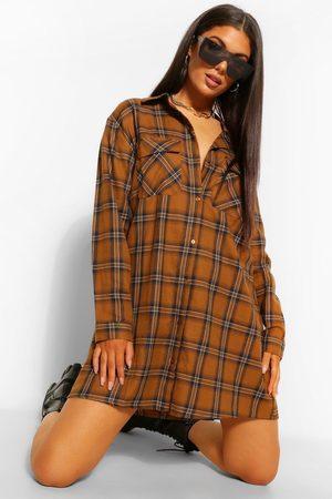 Boohoo Check Print Shirt Dress
