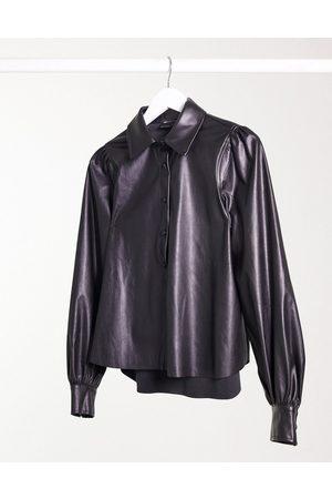 ASOS Long sleeve leather look shirt in black