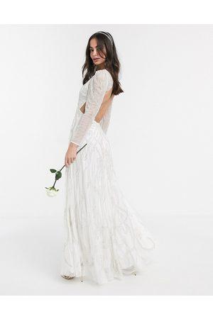 ASOS Charlotte nouveau embellished maxi wedding dress-White