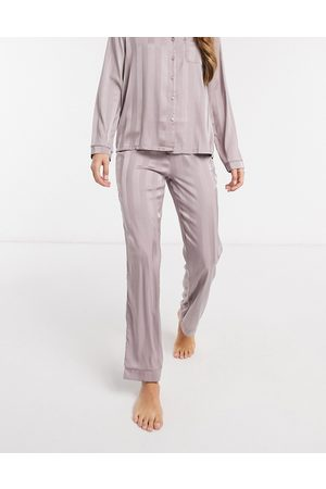 Loungeable Stripe jacquard satin trouser in mink-Brown