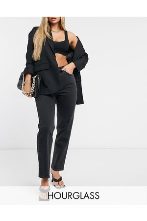 ASOS Dame High waist - Hourglass high rise stretch 'slim' straight leg jeans in washed black
