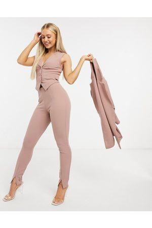 ASOS Jersey slim split front suit trousers in blush-Pink