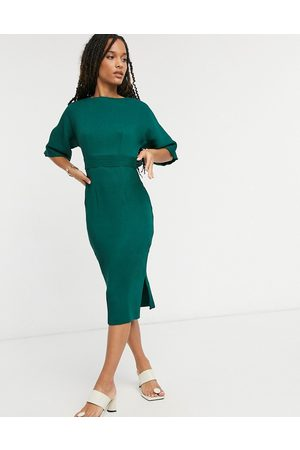 Closet Ribbed pencil dress with tie belt in emerald green