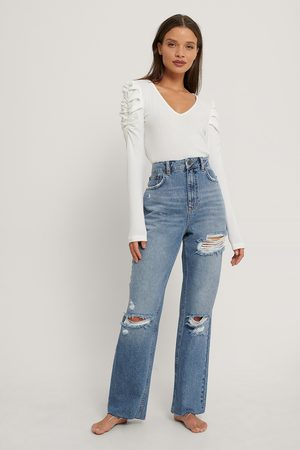 NA-KD Dame High waist - Destroyed Detail High Waist Straight Jeans