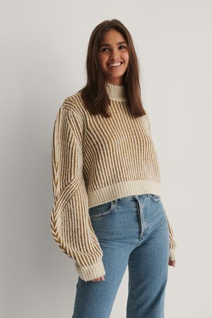 NA-KD Sleeve Detail Striped Knitted Sweater