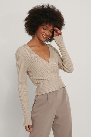 NA-KD Ribbed Overlap Knitted Long Sleeve Sweater