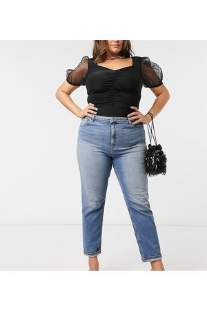 ASOS Dame High waist - ASOS DESIGN Curve high rise farleigh 'slim' mom jeans in authentic midwash-Blue