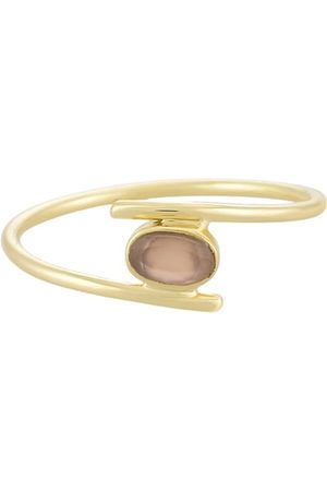 PapayaOslo Golden Elliptical Peach Moonstone Ring