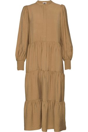 Envii Endowning Ls Maxi Dress 6770 Knelang Kjole Beige