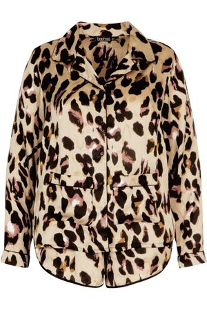 Boohoo Plus Leopard Shirt and Short PJ Set