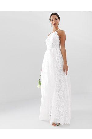 ASOS Dame Maxikjoler - Amalie lace halter neck maxi wedding dress-White