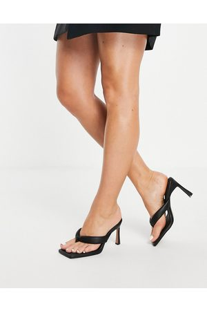 ASOS Haven padded toe thong heeled sandals in black