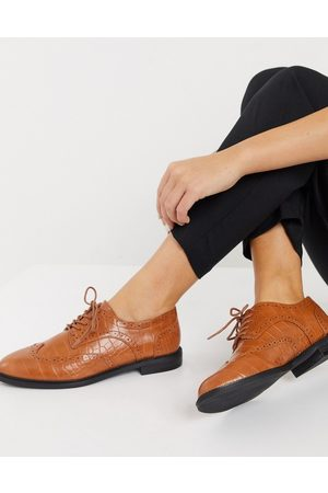 ASOS More flat lace up shoes in tan croc-Brown