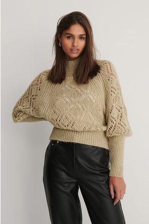 NA-KD Raglan Sleeve Pointelle Stitch Knitted Sweater