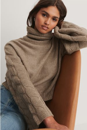 NA-KD Dame Pologensere - Wide Sleeve High Neck Knitted Sweater