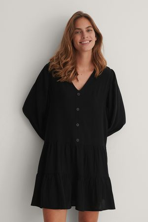 NA-KD Dame Kjoler - Buttoned Flowy V-Neck Dress
