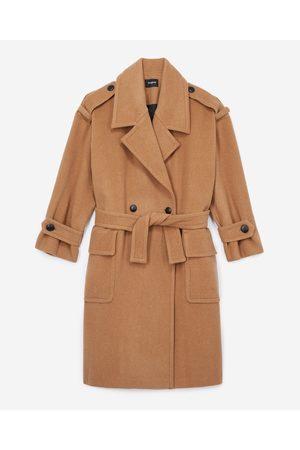 The Kooples Dame Ullkåper - Roomy camel-coloured wool coat with belt