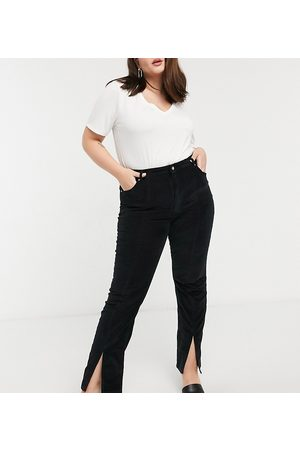 ASOS Dame High waist - Curve high rise 'sassy' cigarette jeans with split front in cord-Black