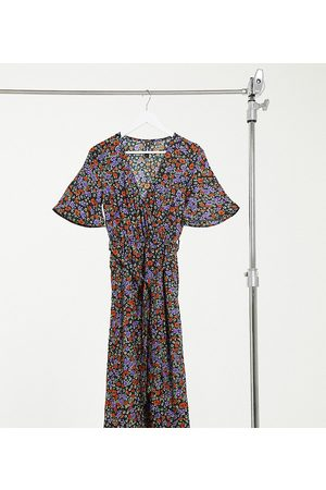 Influence Wrap front midi dress with split in floral print-Multi