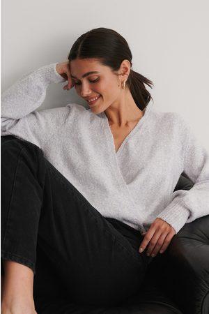NA-KD Melange Knitted Overlap Sweater