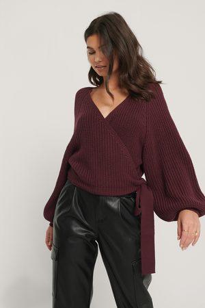 NA-KD Balloon Sleeve Overlap Knitted Sweater