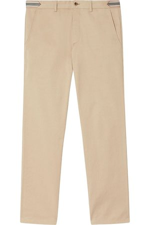 Burberry Stripe-detail cotton chino trousers