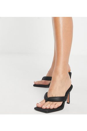 ASOS Wide Fit Haven padded toe thong heeled sandals in black