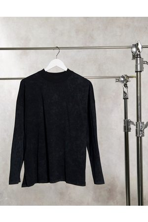 ASOS Boxy top with seam detail and long sleeve in washed black-Grey